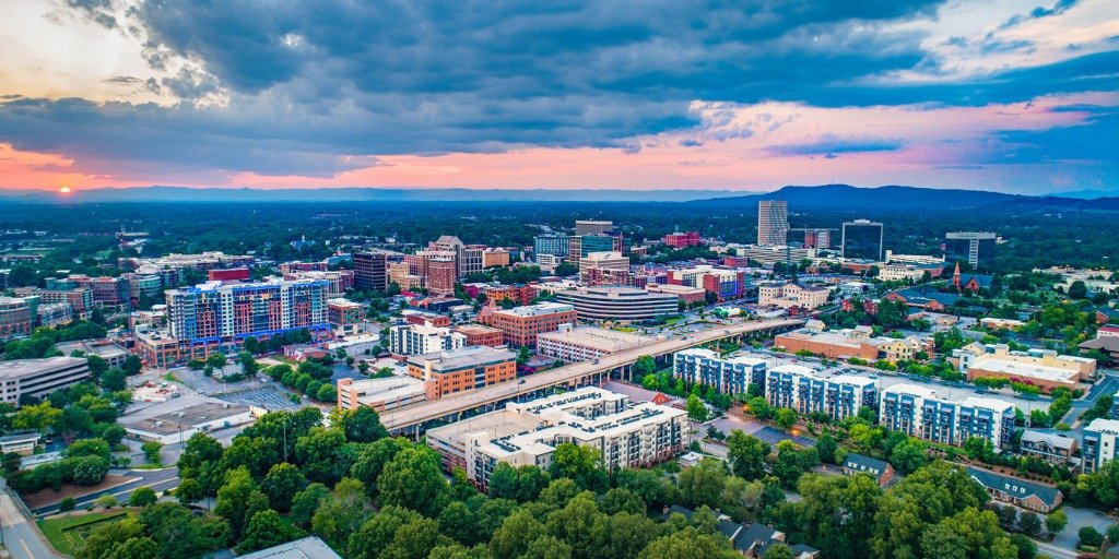 greenville-south-carolina-sc-skyline-aerial-at-sunset-picture-id1160023893